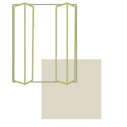 Csuklóajtó megoldás beépített szekrény